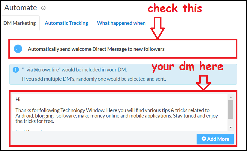 add direct message for twitter in crowdfire app