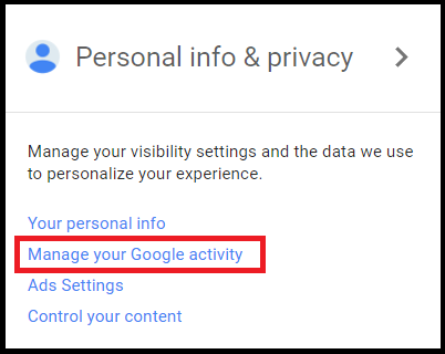 manage google activity in my account