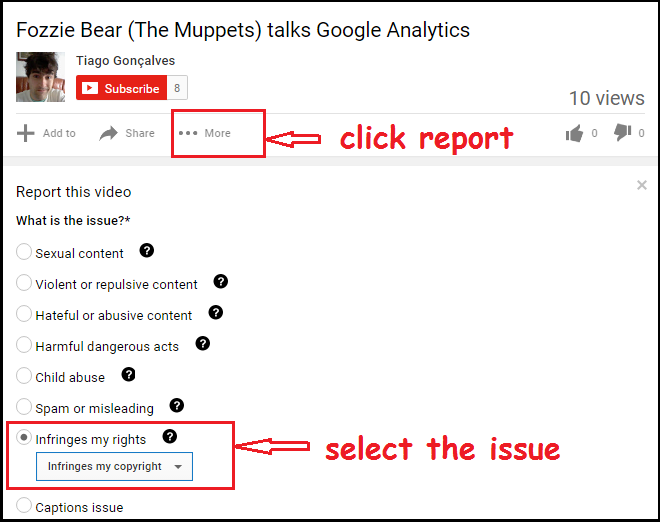select the issue for copyright infringement on youtube