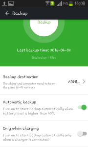 airdroid android backup option