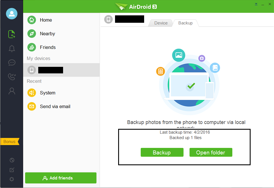 backup photos from android to pc