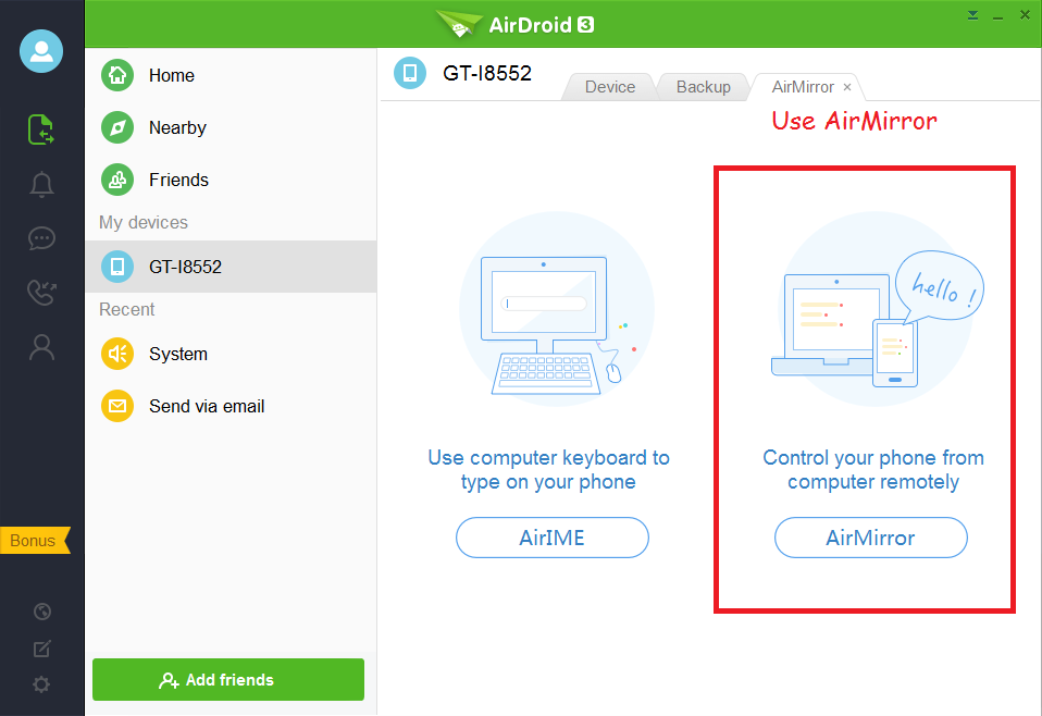 using airmirror on airdroid desktop application