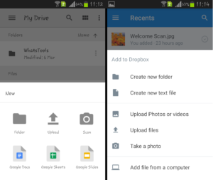 wirelessly transfer files using google drive and dropbox