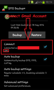 connect gmail to sms backup+