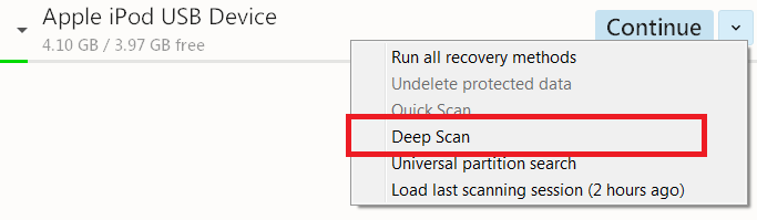 deep scan ipod using disk drill