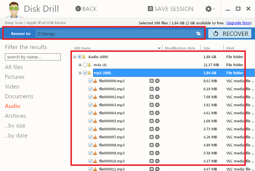 select music files to recover using disk drill
