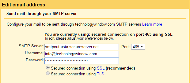 send email through smtp server in gmail