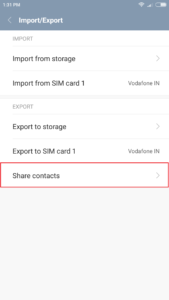share contacts on android