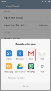 share contacts via gmail on android
