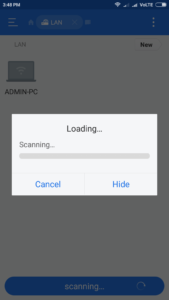 scan lan for pc in es file explorer