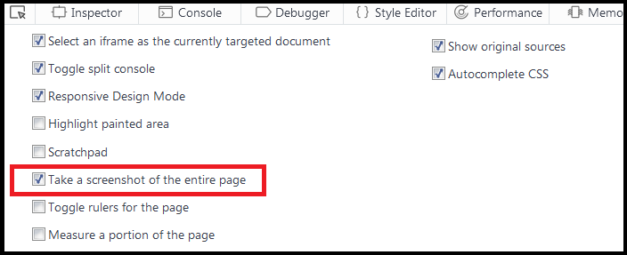 check take a screenshot of the entire page in firefox