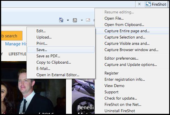 take screenshot of full web page in ie using fireshot