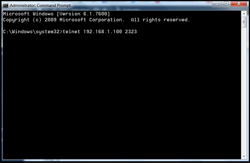 run telnet using command prompt