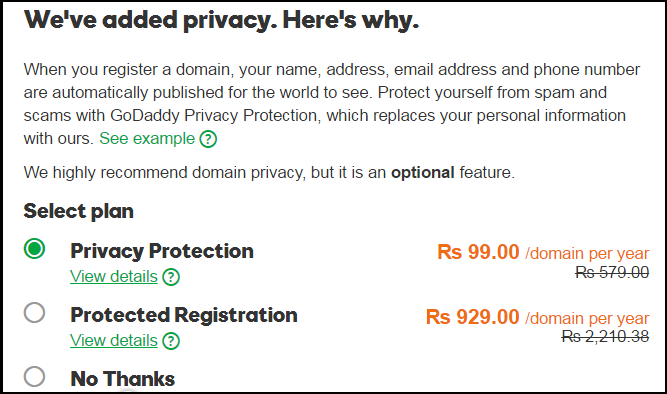 privacy protection for domain name