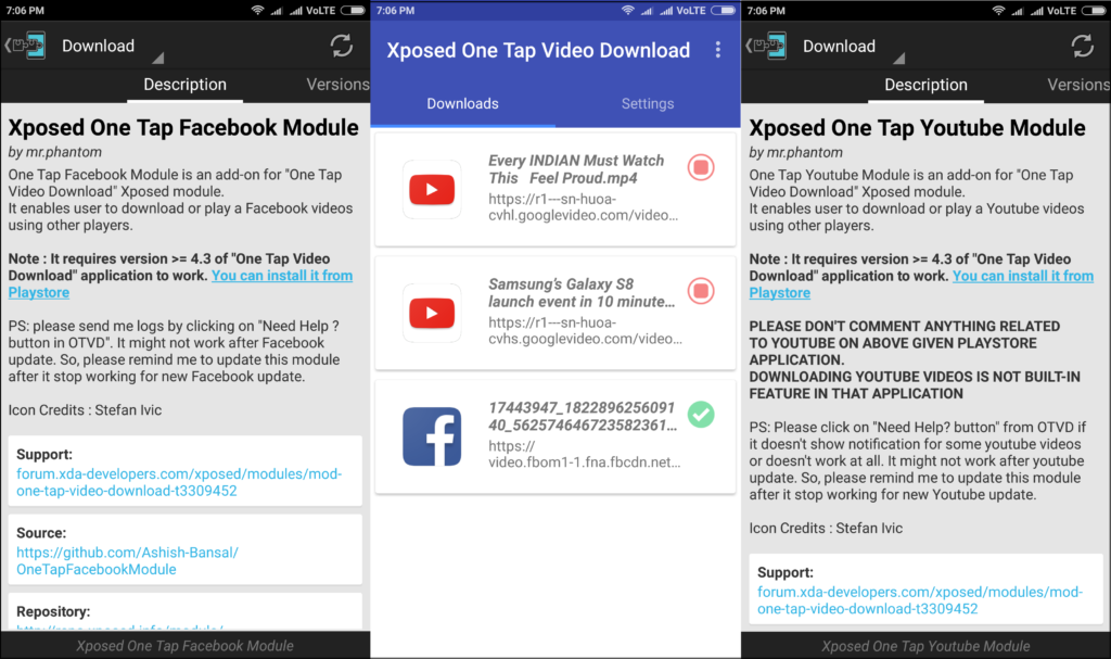 xposed module one tap video download