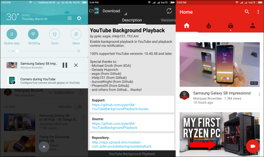 xposed module youtube background playback