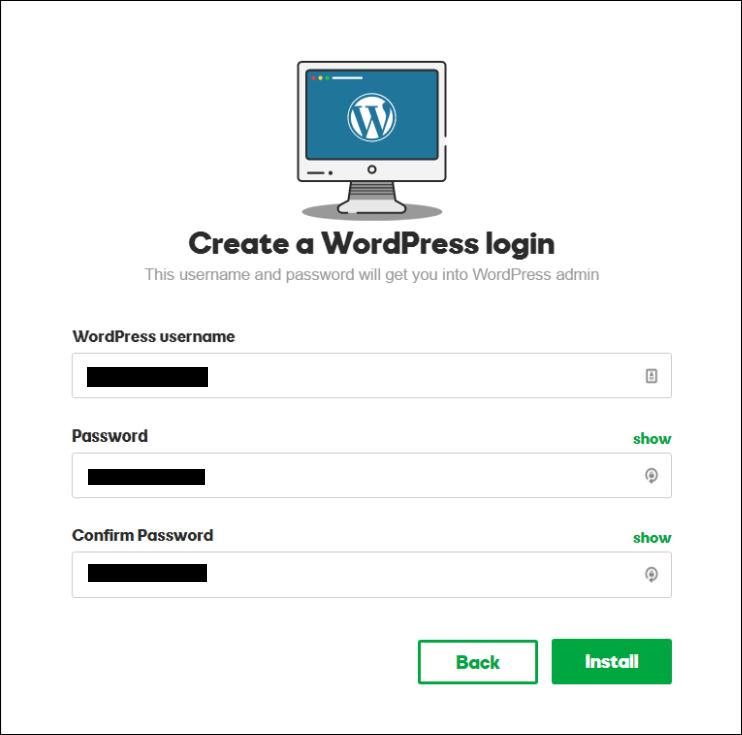 setup wordpress username and password for godaddy wordpress blog