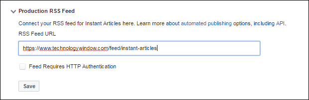 production rss feed for fb instant articles