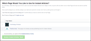 select fb page for instant articles
