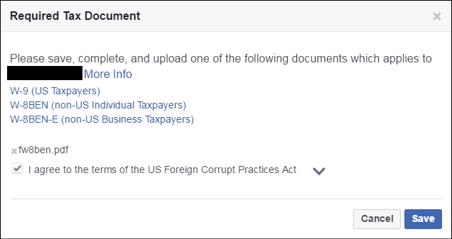 tax forms for facebook audience network