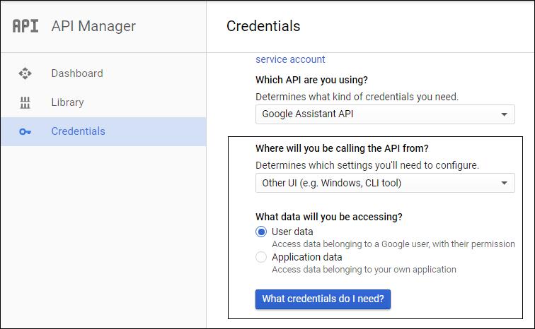 calling google assistant api