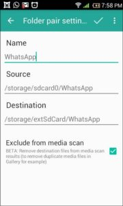 folder pair settings for whatsapp in foldermount