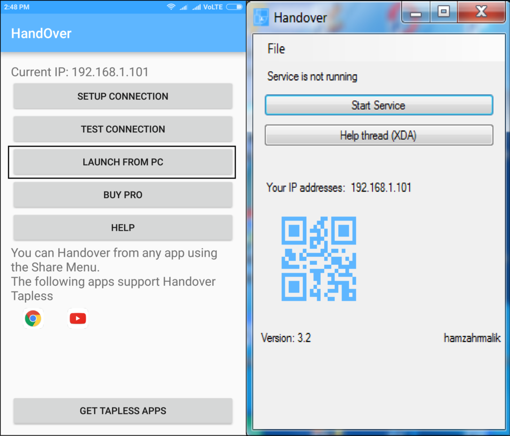 send links to android phone using handover