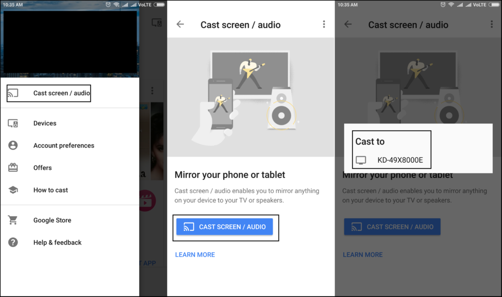 cast android screen to tv using google home app